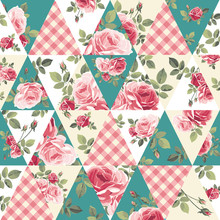 Patchwork Pattern With Roses. ...