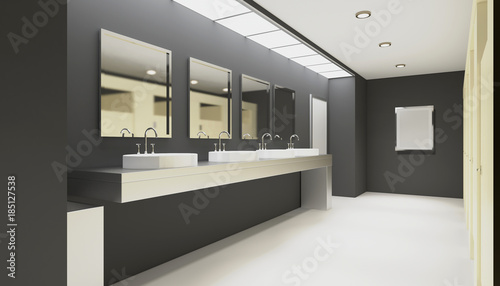 Carta da parati  Clean public toilet room empty with wooden partition
