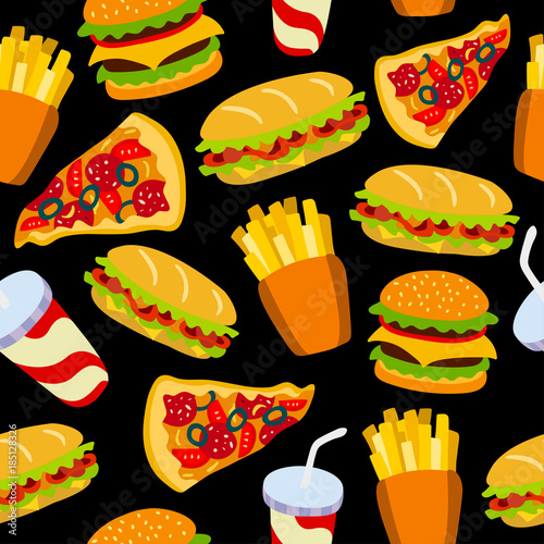 Fast Food Pattern On A Black Background Texture For