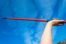 Athlete Hand Red Javelin