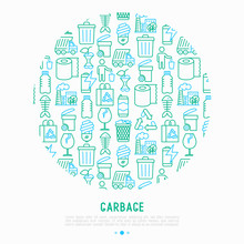 Garbage Concept In Circle With...