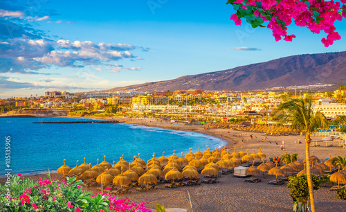 Montage in der Fensternische Kanarische Inseln Beautiful landscape of famous Torviscas beach in summer holiday in Tenerife, Canary island, Spain