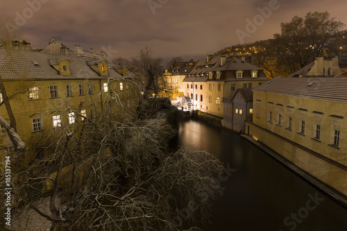 Aluminium Prints Theater Night romantic snowy Prague Flourmill above Certovka, Czech republic