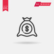 Money bag Icon in trendy flat style isolated on grey background.