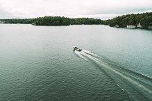 High Angle View Of Motorboat O...