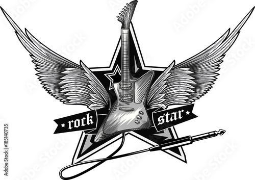 Obraz na plátně  Black and white winged rock star emblem