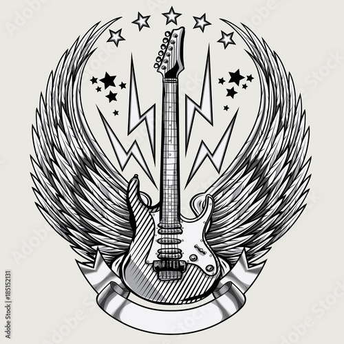 Fototapeta  Winged guitar emblem