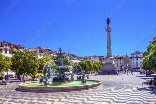Column Pedro IV Fountain Rossio Square Lisbon Portugal Canvas Print