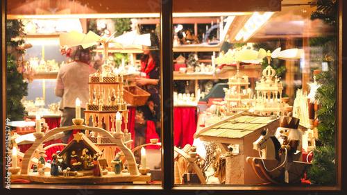 Foto op Plexiglas Retro vintage toy store window shop christmas market background