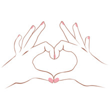 Lineart Illustration Of Hands Making Heart Symbol Love Concept