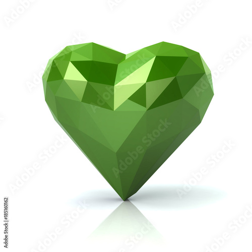 Low poly green heart 3d illustration on white background