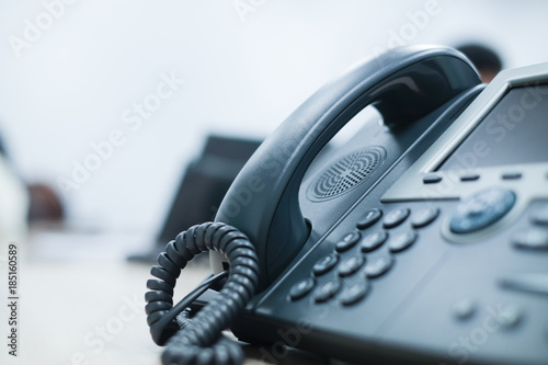 close up telephone landline at office concept
