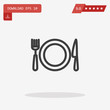 Dish, fork, knife Icon in trendy flat style isolated on grey bac