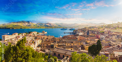 Fotobehang Toscane Old town and harbor Portoferraio, Elba island, Italy.