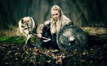 Viking Woman Warrior In Tradit...