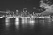 Black and white Manhattan panorama at night, New York City, USA.