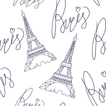 Paris Eiffel Tower Pattern Wit...