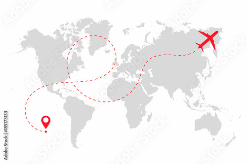 Airplane path in dotted line shape on world map  Route of plane with