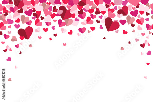Fotografie, Obraz  Valentines Day Floating Hearts Repeating Vector Background 1