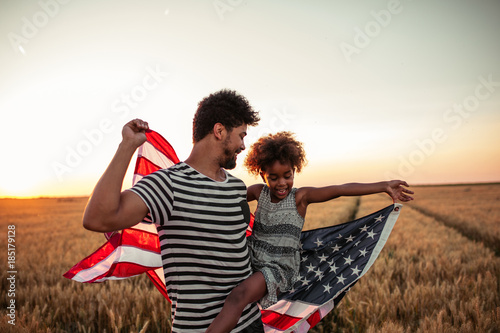 Fotografie, Obraz  Celebrating independence day with my little girl !