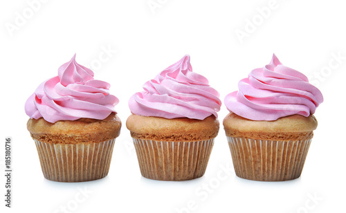 Delicious cupcakes on white background Canvas Print