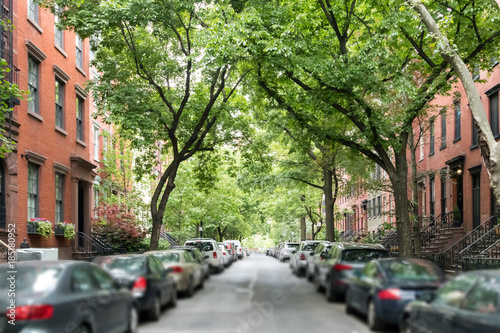 Tuinposter New York City Tree lined street of historic brownstone buildings in a Greenwich Village neighborhood in Manhattan New York City NYC
