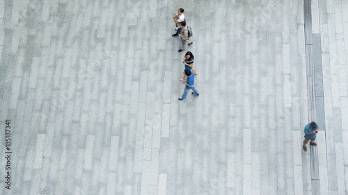 Valokuva  top aerial view of people walk on pedestrian street city