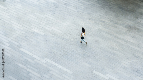 top aerial view of people walk on pedestrian street city Canvas-taulu