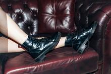 Black Leather Women Shoes Lyin...