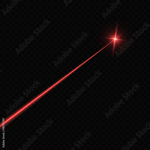 Laser beam. Light flash with sparkling ray on transparent background Wall mural