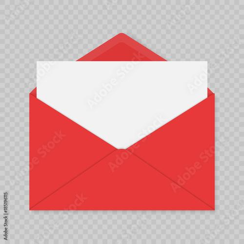 Fotomural  realistic red blank open envelopes mockup