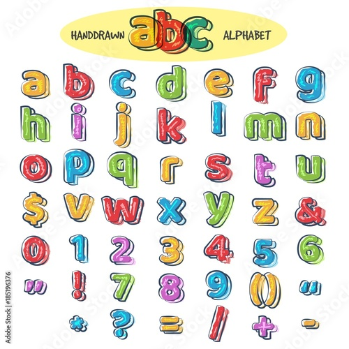 colorful doodle alphabet kids handwritten doodles font or childlike