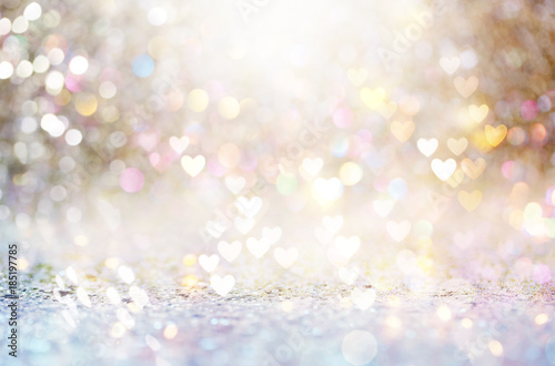 Beautiful shiny hearts and abstract lights background Fototapete