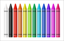Set Of A Color Crayon On White...