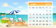 Calendar Of JUNE 2018 Theme Summer Beach Relax