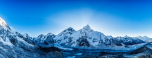 Snow Mountain Peaks. Panoramic View Of Himalaya Mountain. Way To Everest Base Camp, Khumbu Valley, Sagarmatha National Park.