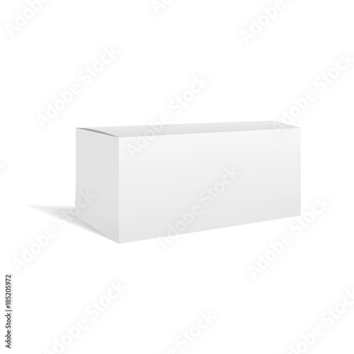 Fototapeta White vector realistic rectangular horizontal box package mockup with shadow. Blank rectangle container or cardboard template for cosmetic, medicine, software, appliance products obraz