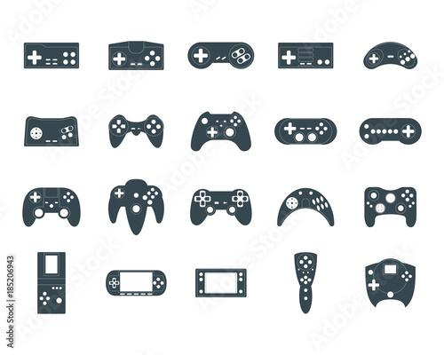 Cuadros en Lienzo Cartoon Silhouette Black Gamepad Icon Set. Vector