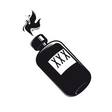 Black Bottle With Booze Clipart