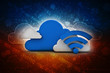 3d rendering Cloud online storage icons with wifi