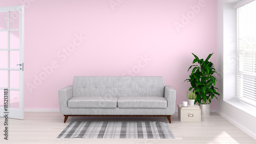 Sofa in comfortable living room 3D rendering empty pink wall for ...