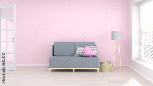sofa in living room minimal interior background,3D rendering empty ...