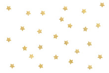 Gold Glitter Star Paper Cut On White Background - Isolated