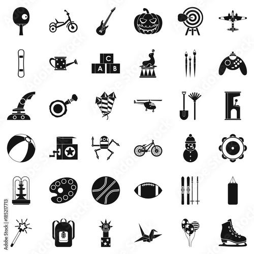 Fototapeta Kid game icons set, simple style obraz na płótnie
