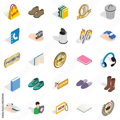 Commercial acumen icons set, isometric style Wallpaper Mural