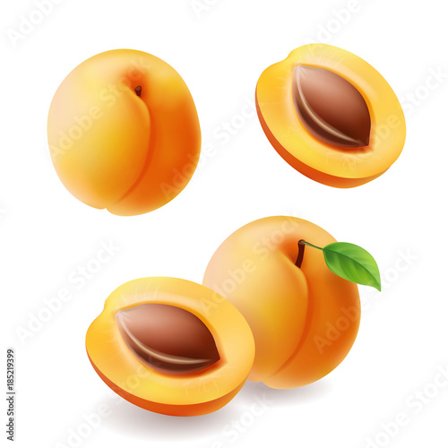 Valokuva Apricots with leaf and half apricot realistic fruit set. Vecctor