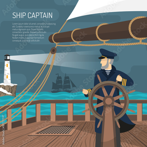 Sailboat Captain Nautical  Flat Poster Tapéta, Fotótapéta