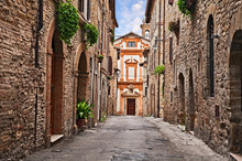Bevagna, Perugia, Umbria, Italy: Alley And Church In The Old Town