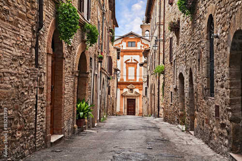 Canvas Prints Narrow alley Bevagna, Perugia, Umbria, Italy: alley and church in the old town