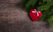 Christmas Tree Branches With Heart Decoration